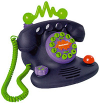 During my daycare days, I bought this real working phone. I loved the fact that the ringer could be changed to sounds such as a cow mooing or a cackling laugh. Eventually I had to get rid of it, because I couldn't keep the kids from playing with it and  dialing random phone numbers.