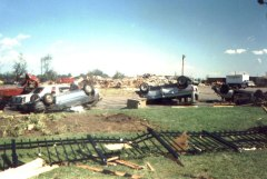 A scene from the 1990 tornado that tore through Plainfield, Illinois